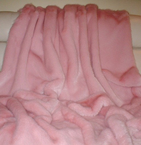 Raspberry Cream Mink Faux Fur Swatch