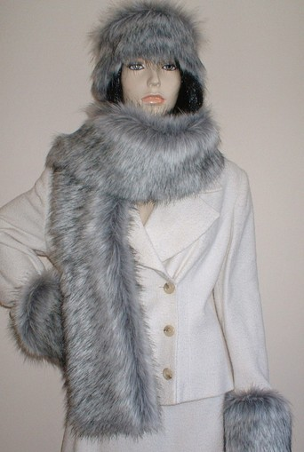 Silver Musquash Faux Fur Scarf
