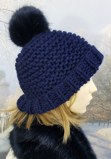 e33ab6bf74c Navy Blue Knitted Bobble Hats - Faux Fur Throws