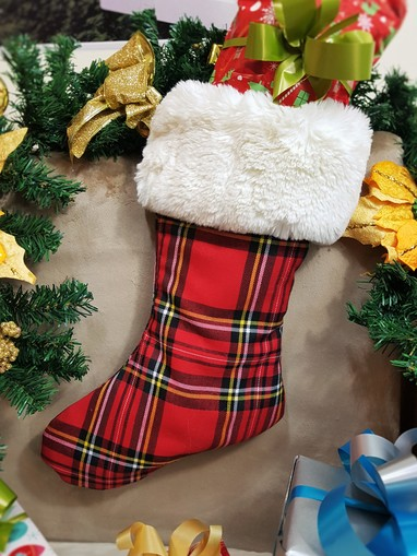 Red Tartan and Marilyn Faux Fur Stocking