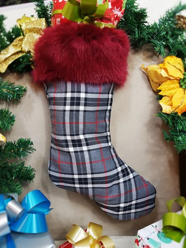 Silver Tartan and Ruby Red Faux Fur Stocking