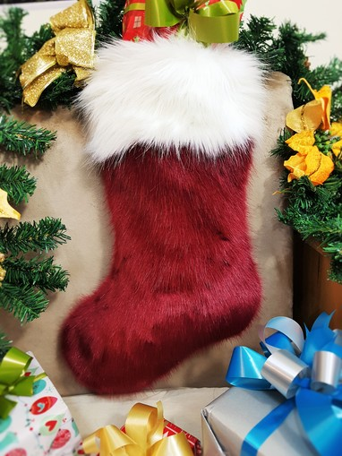 Ruby Red and Polar Bear Faux Fur Stocking
