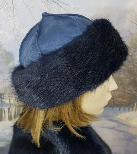 Midnight Navy Blue Faux Fur Roller Hat