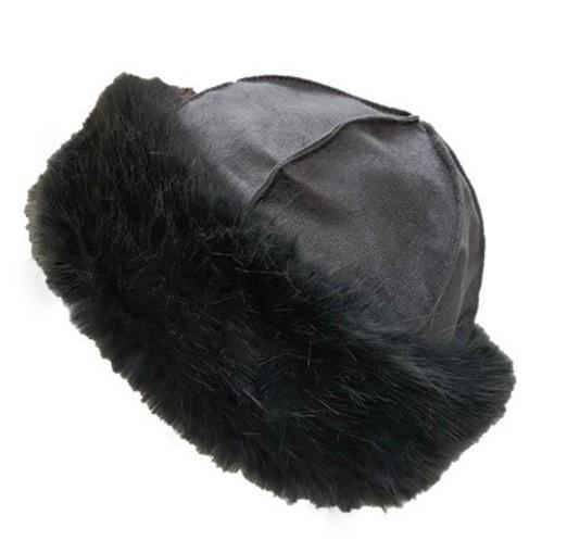 Charcoal Faux Fur Roller Hat