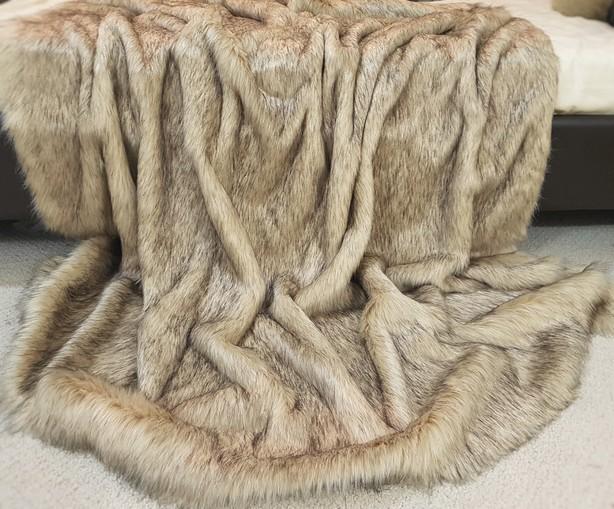 SALE Fawn Musquash Faux Fur Throw with Mocha Velboa
