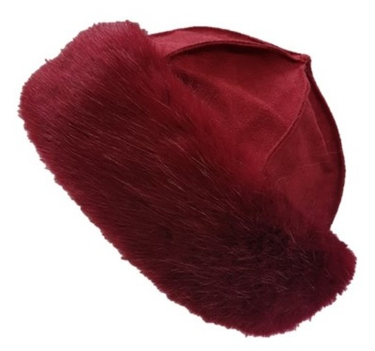 Ruby Red Faux Fur Roller Hat