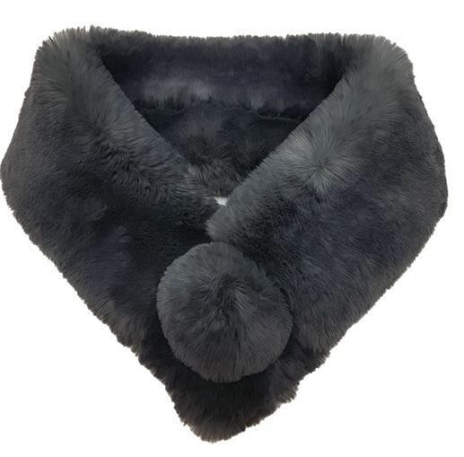 Slate Grey Faux Fur Pom Pom Collar