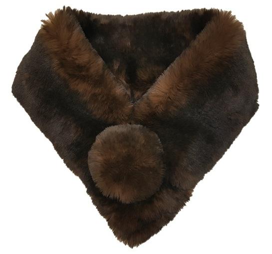 Brown Sotfee Faux Fur Pom Pom Collar