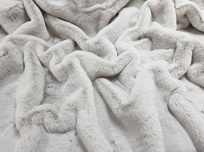 Silver Softee Faux Fur Fabric Per Meter