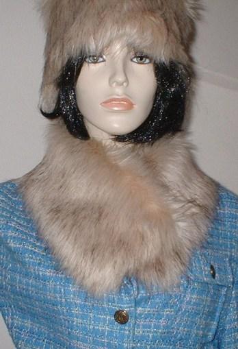 Fawn Musquash Faux Fur Long Collar