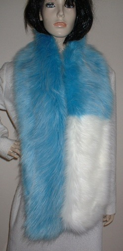 Two Tone Scarf with Sky Blue and Polar Bear Faux Fur