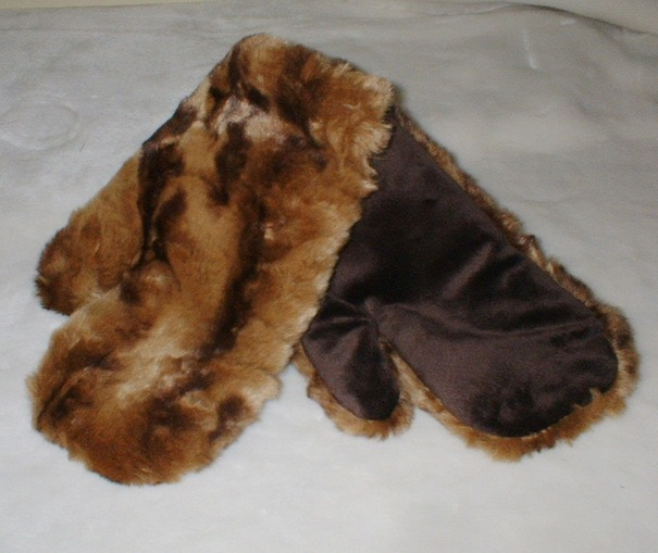 Vintage Gold Astra Faux Fur Mittens
