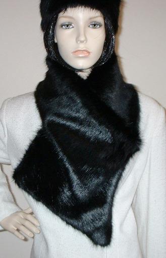 Black Mink Faux Fur Asymmetric Scarf