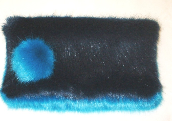 Navy & Azure Faux Fur Clutch Bag