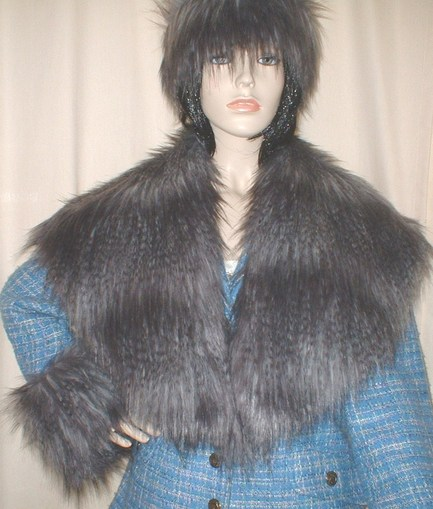 Siberian Wolf Faux Fur Shawl Collar