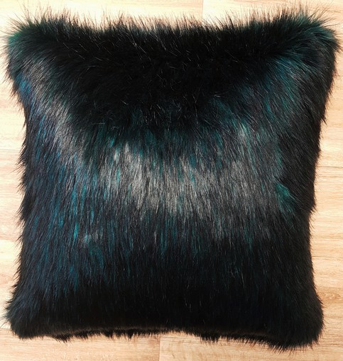 Emerald Black Faux Fur Cushions