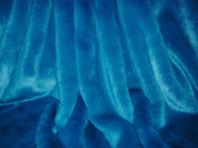 Azure Blue Faux Fur Fabric Per Meter