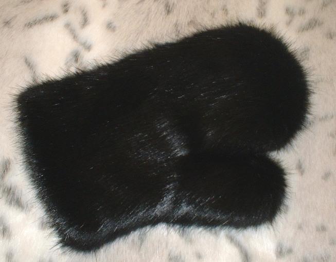 Black Mink Faux Fur Massage Mitt