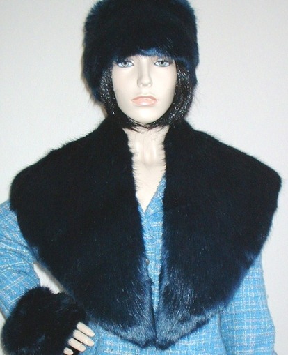 Midnight Navy Blue Faux Fur Shawl Collar