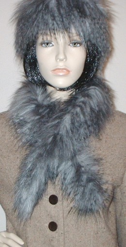 Siberian Wolf Faux Fur Slim Collar/Headband