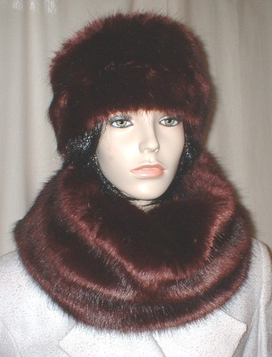 Burgundy Mink Faux Fur Hat