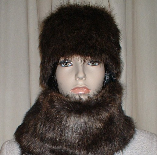 Brown Bear Faux Fur Hat Medium Size