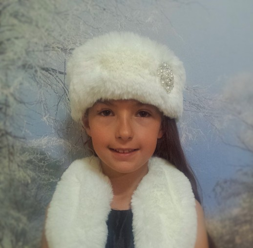Children's Faux Fur Headband with Diamante Brooch