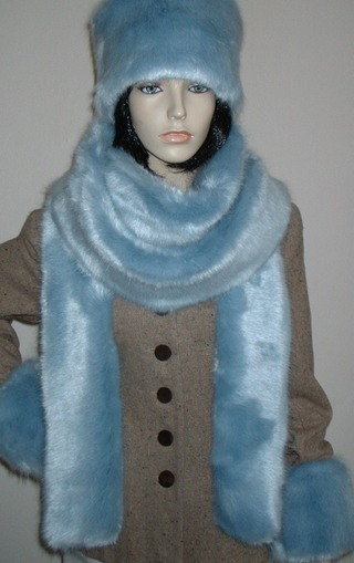 Powder Blue Faux Fur Super Long Scarf