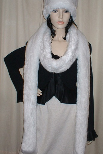 Snow White Faux Fur Super Long Scarf