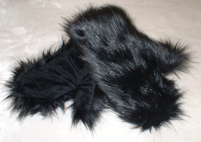 Black Bear Faux Fur Mittens