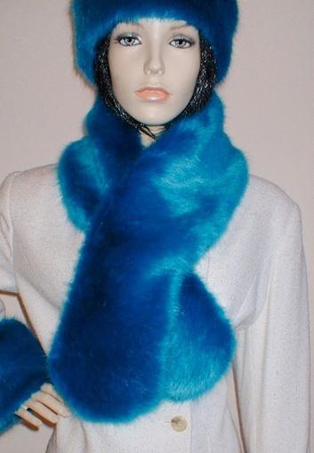 Azure Blue Faux Fur Pull Through Scarf