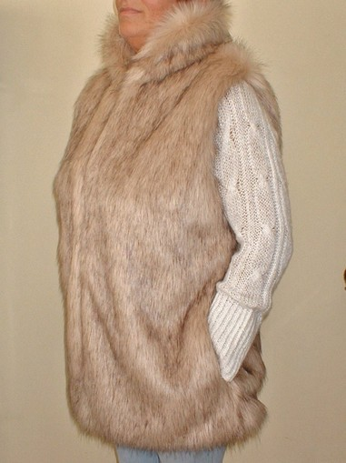 Fawn Musquash Faux Fur Long Gilet