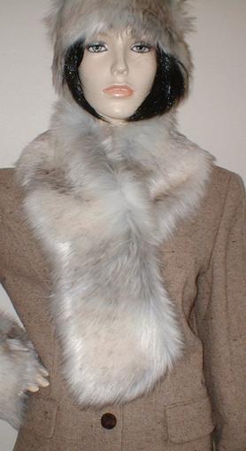 Snow Wolf Faux Fur Pull Through Scarf