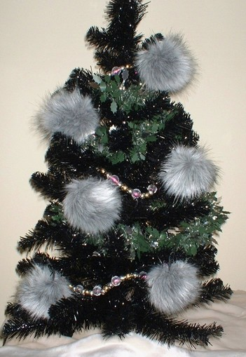 Silver Musquash Faux Fur Christmas Bauble