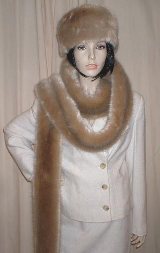Honey Blonde Faux Fur Super Long Scarf