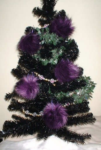 Royal Purple Faux Fur Christmas Bauble