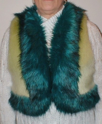 Pistachio and Jade Faux Fur Body Warmer