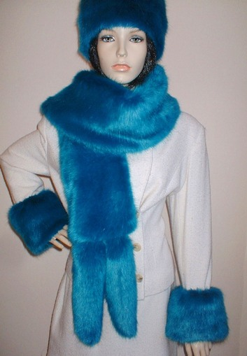 Azure Blue Faux Fur Cuffs