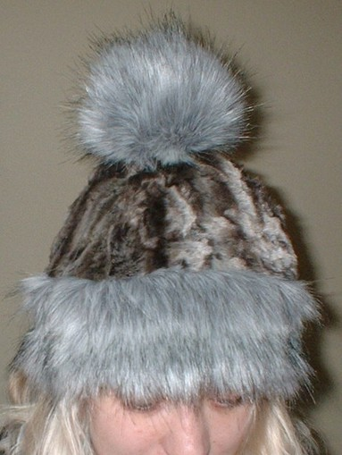 Silver Musquash Faux Fur Bobble Hat