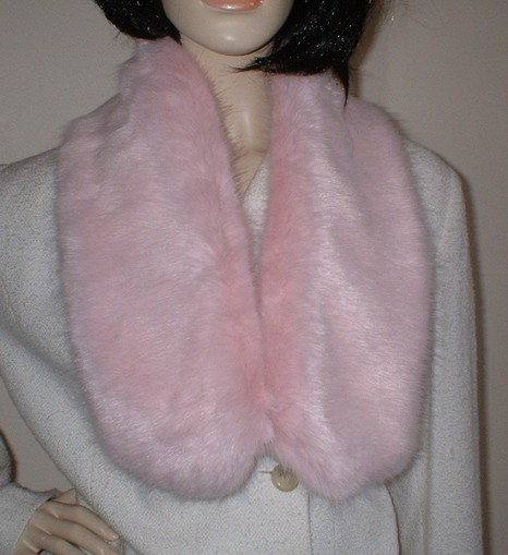 Raspberry Cream Mink Faux Fur Neck Scarf