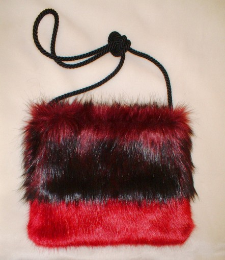 Tuscan Red and Ruby Red Faux Fur Shoulder Bag
