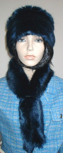 Midnight Navy Blue Faux Fur Slim Collar/Headband
