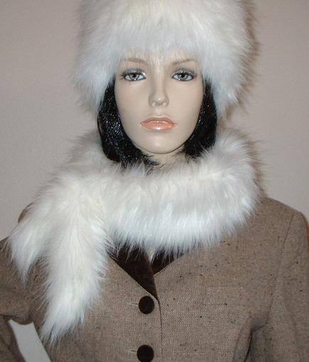 Polar Bear Faux Fur  Slim Collar/Headband
