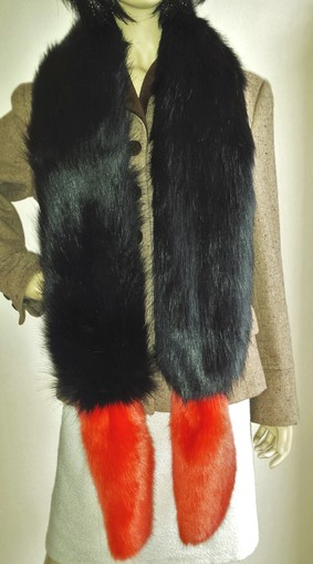 Black Bear and Coral Faux Fur Boa Scarf