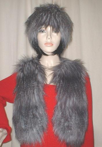 Siberian Wolf Faux Fur Bolero Waistcoat
