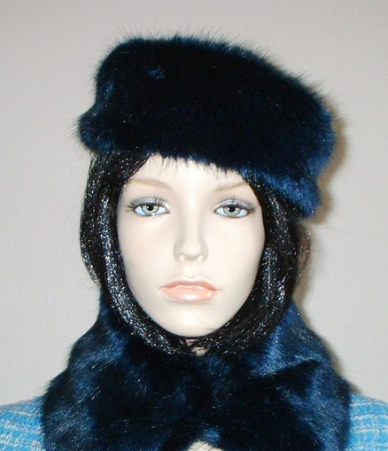 Midnight Navy Blue Faux Fur Pill Box Hat