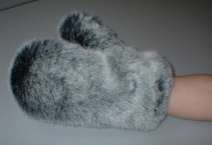 Arctic Wolf Faux Fur Massage Mitt