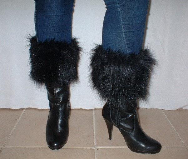 Black Bear Faux Fur Boot Toppers