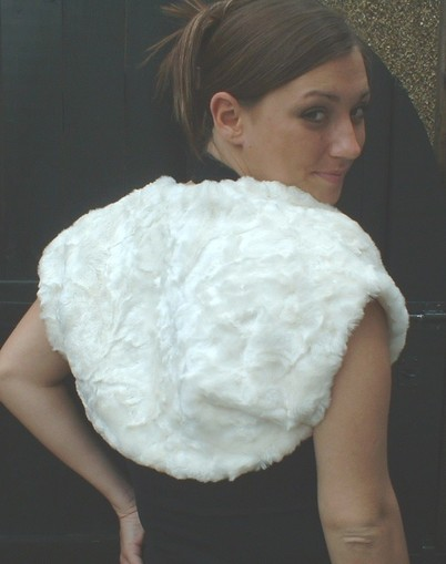 Ivory Astra Faux Fur Shrug