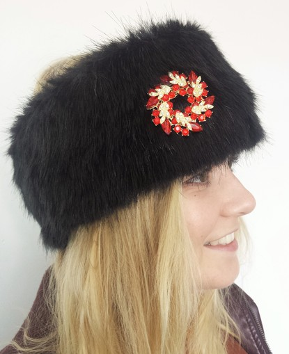 Black Mink Faux Fur Headband with Diamante Brooch